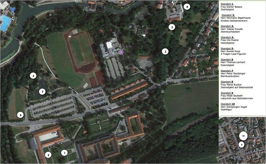Luftbild Skulpturenstandorte Brucker Skulpturenpfad